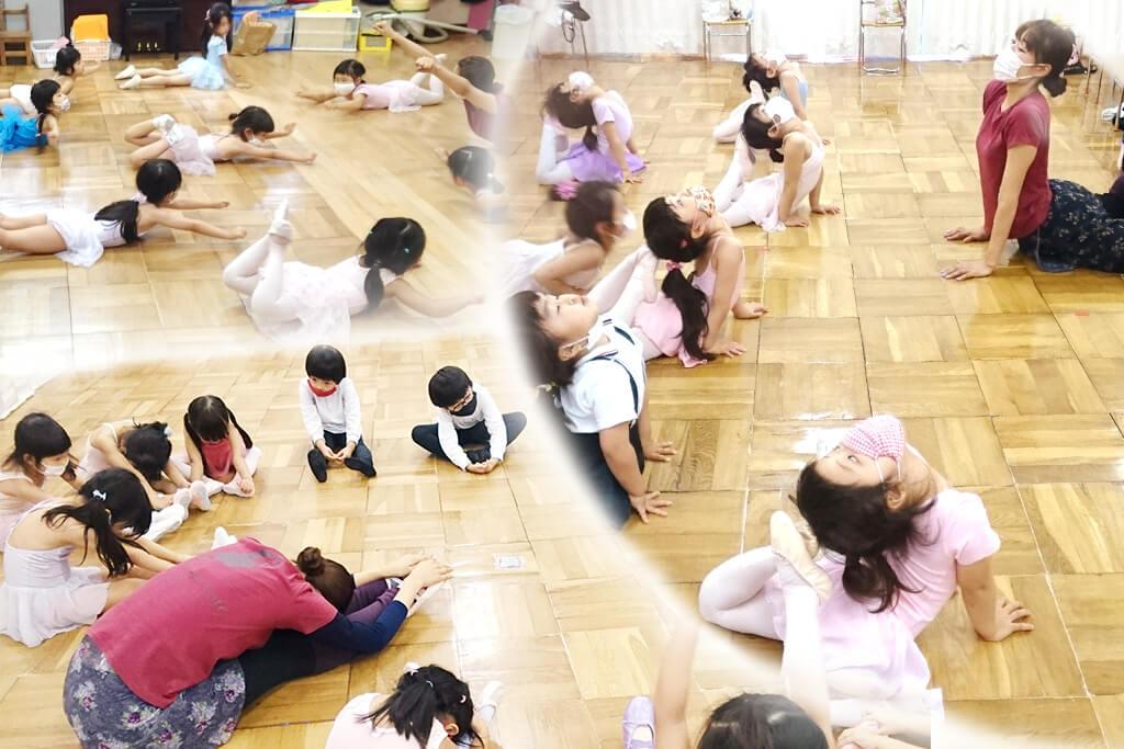 地域貢献として高田馬場のおおや幼稚園にバレエレッスンを行う様子